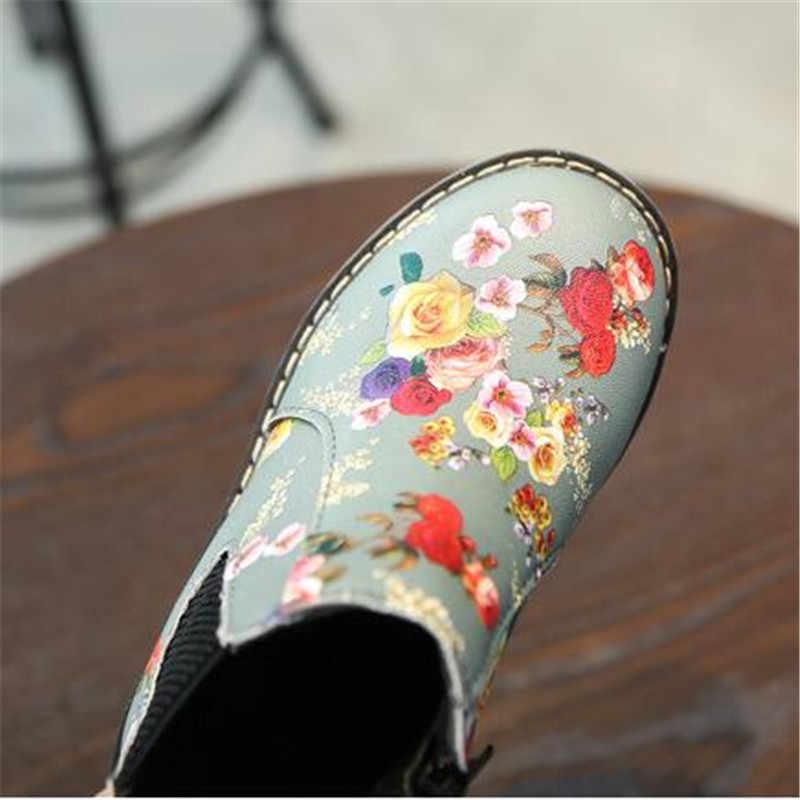ילדי גומי מגפיים עמיד למים פרח הדפסת תינוק בנות שטוח העקב נעלי ילדי עור מגפי החלקה פעוט קרסול אתחול
