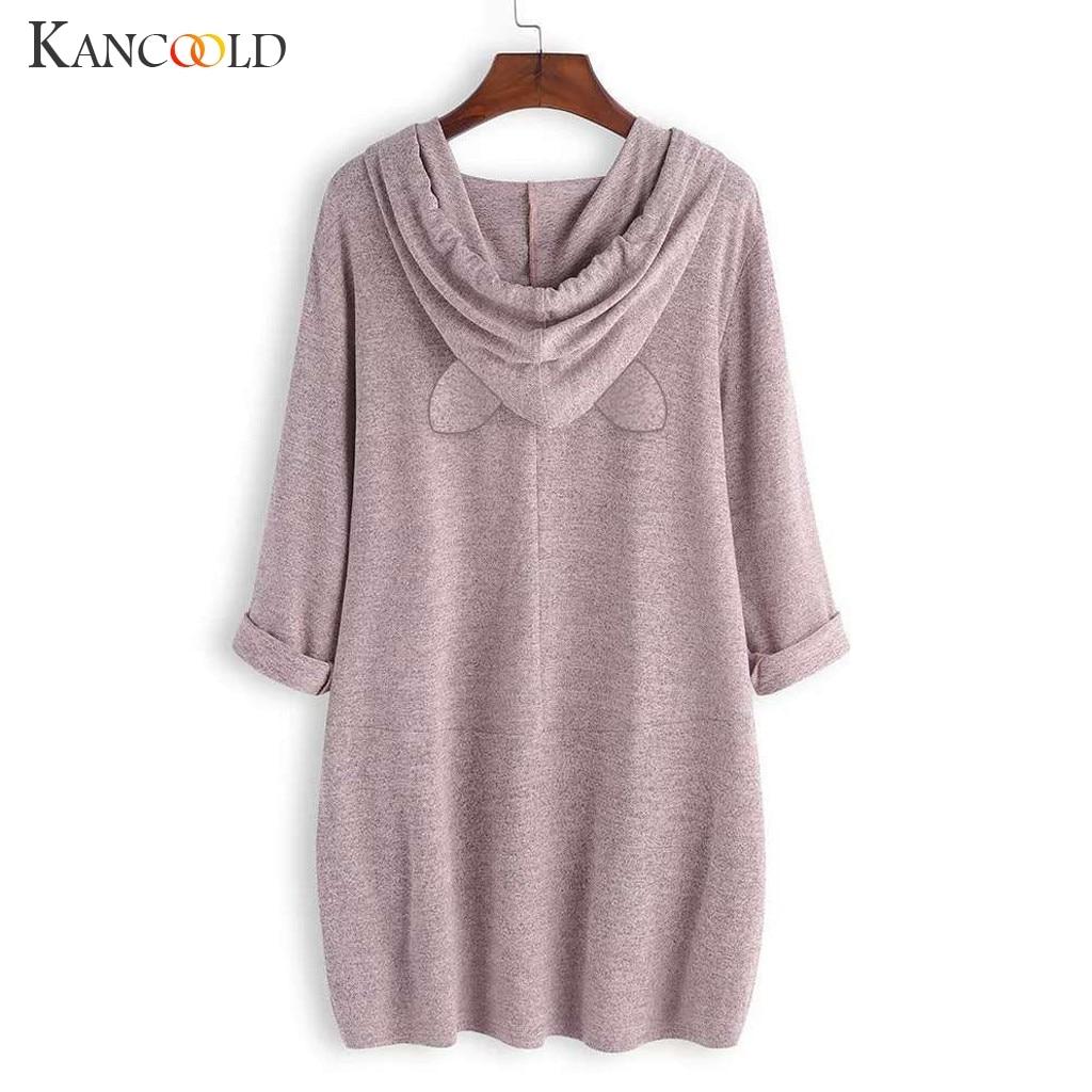 Women Casual Printed Cat Ear Hooded T-Shirt Long Sleeves Pocket Irregular fashion 7