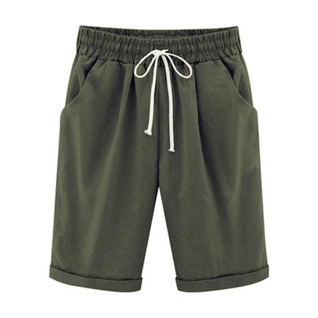 Oversized Women Summer Cotton linen Shorts Casual Ladies Drawstring Elastic Loose Short Trousers Plus Size S-8XL WDC2019 4