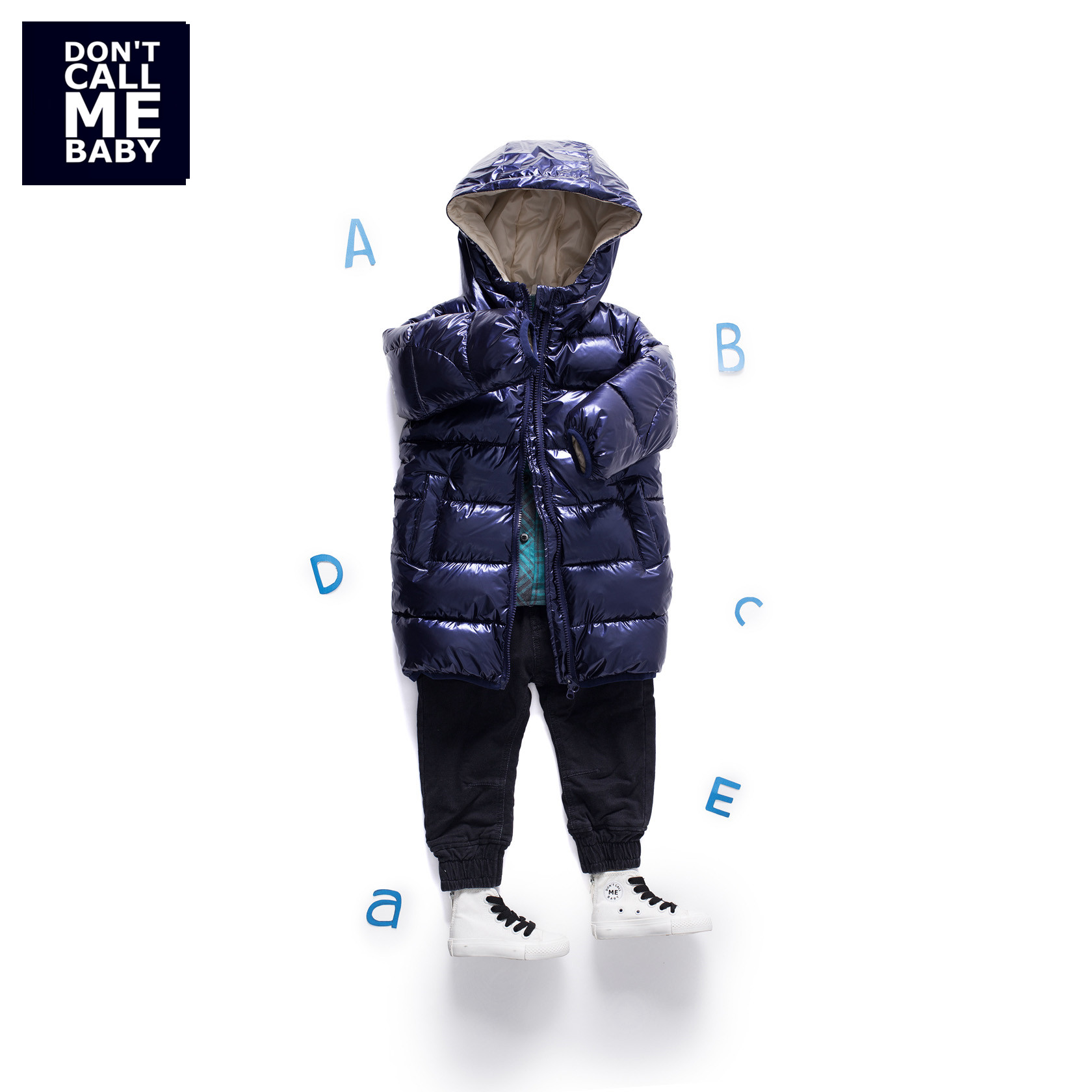 Mayas Blue Bling Bling Fashion Kids Winter Parkas Boys New Warm Zipper Thickening Coats Children Street Basic Jacket 81230