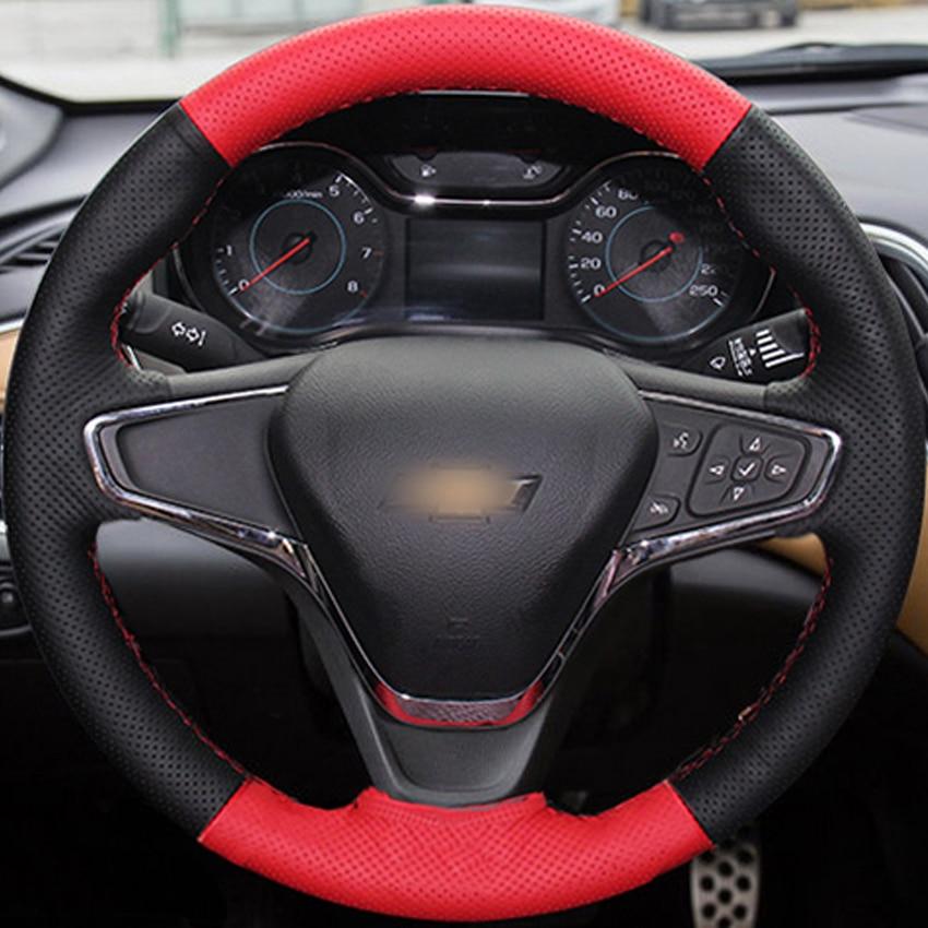 Couvre-volant de voiture cousu main bricolage en cuir noir rouge pour Chevrolet Malibu XL 2016 2017 Equinox 2017