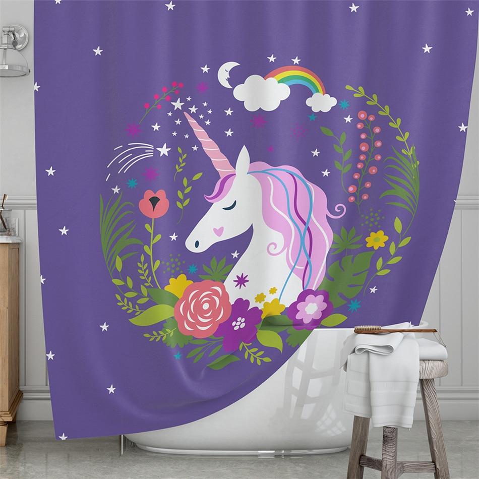 S Purple Shower Curtain Colorful Unicorn Bathroom Flowers Print Cartoon Bath Curtains Waterproof Home Decor In From