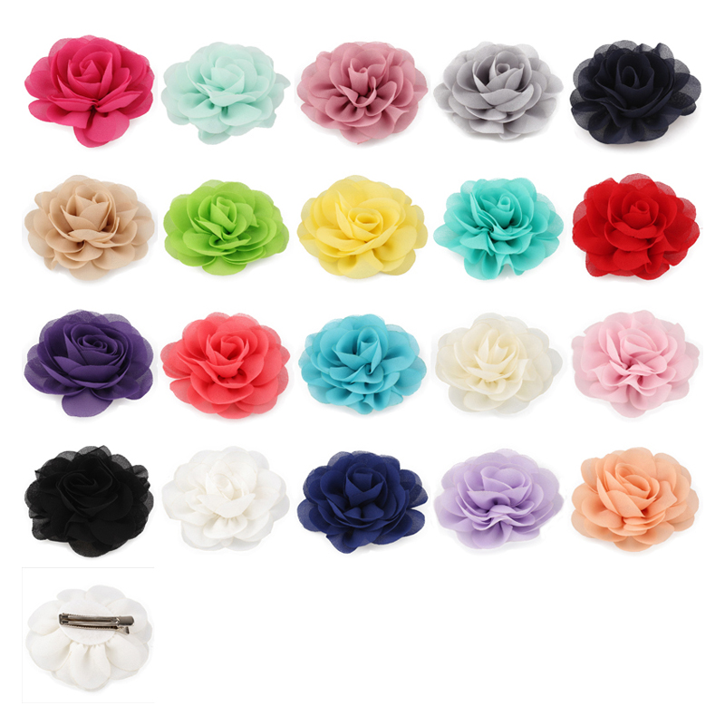 30pcs/lot 20colors 8.5cm Chiffon Petals Poppy Flower Hair Clips Rolled Rose Fabric Hair Flowers For Kids Girls Hair Accessories 50pcs lot 4 1 17colors shabby lace mesh chiffon flower for kids girls hair accessories artificial fabric flowers for headbands