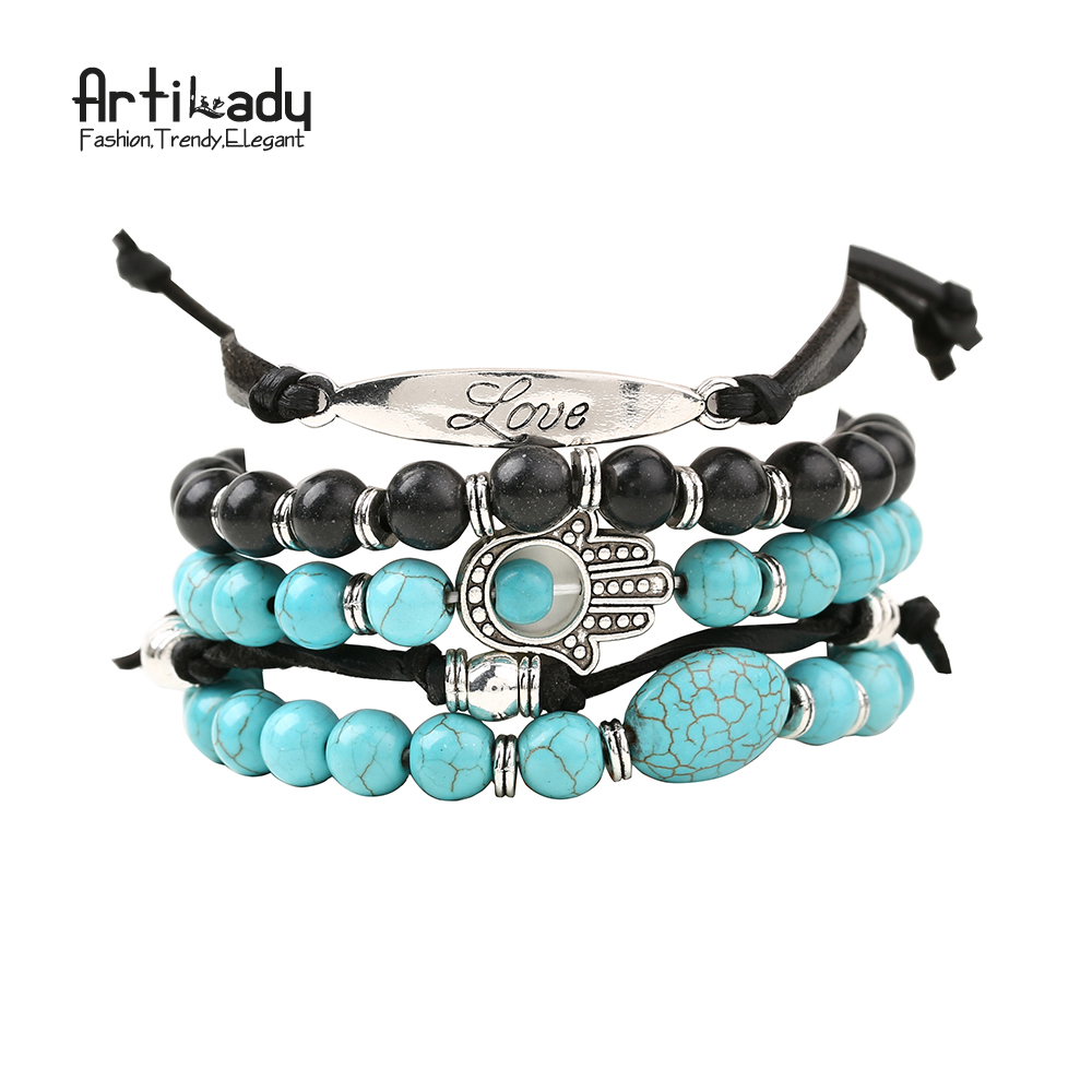 Artilady hamsa hand 5pcs bracelets set stone beads with love bracelet for women jewelry party gift dropshipping
