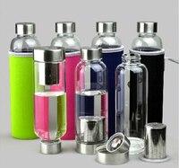 420 ML Sports Drink Bouteille D'eau Portable Bouteille Tasse En Verre Borosilicate Réel Verre Bouteille filtre Boule À Thé de Voyage En Plein Air