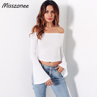Misszonee European Style Sexy Off Shoulder 4 Colors T Shirt Women Tops Flare Sleeve Top Tees