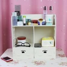 Style  Wood casket cosmetics desktop storage box makeup case with drawer shelf storage case  gadgets 311E