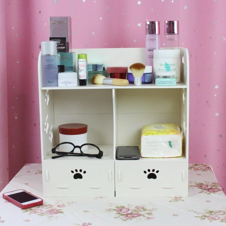 Style bois cercueil cosmétiques boîte de rangement de bureau étui de maquillage avec tiroir étagère mallette de rangement gadgets 311E