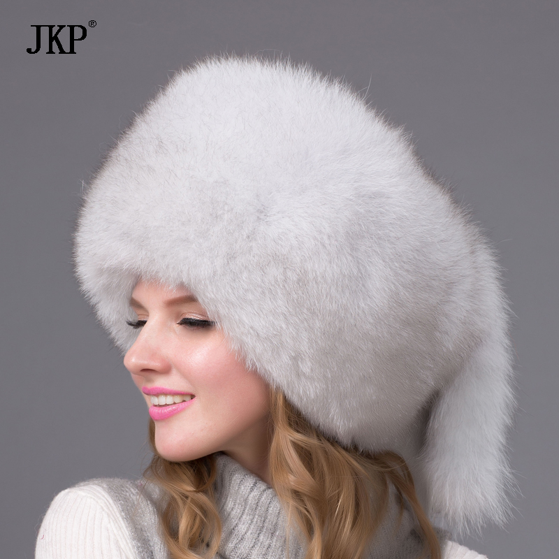 Kapelë leshi grave për dimër Real Fox Fur Hats Headgear Russian Girls Raccoon Rakoon Fur Beociation Cap 2018 Moda e Re e veshit kapelë HJL-01