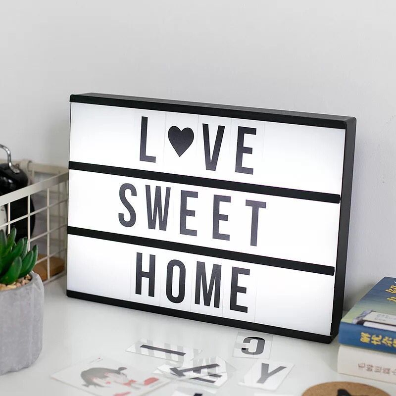 LED Light Box Letters DIY Lightbox Black Letters Cards Combination Night Light A4 Size White Pink Black USB Powered Cinema Lamp diy cinematic lightbox led night light box modern table desk lamp a4 size letters number battery usb powered home decor iy303206 page 5