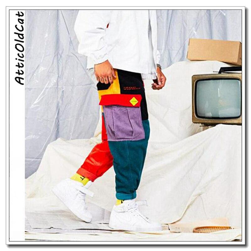 Cadera Harajuku Vintage Harem 2019 Algodón Ribete Pana Picture Patchwork Pantalones Jogger Carga Color Bloque Streetwear De 1FwqSwd