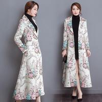 China fashion women's trench coat new 2017 winter long sleeve printed super long overcoat brand design dress clothes vestidos