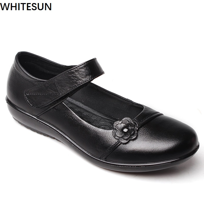 WHITESUN new arrival women Mary janes shoes summer low heel pumps soft rubber soles wedge shoes Women's genuine leather shoes loslandifen mary janes women pumps new