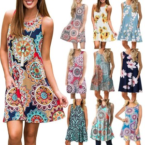 Women Beach Dress Summer Casual T Shirt Dresses Printed Tank Sexy Mini Dress Casual Beach Party Sundress Beach Cover Up