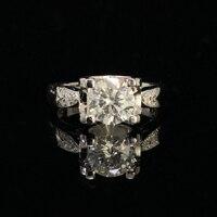9 к белое золото Moissanite кольцо 1ct 2ct 3ct роскошное кольцо с бриллиантом украшения Помолвочное кольцо на головщину для женщин
