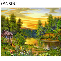 YANXIN DIY Frame Painting By Numbers Oil Paint Wall Art Pictures Decor For Home Decoration 993