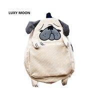 Японская школьная сумка животного Дизайн вельвет Мопс Рюкзаки для подростков Обувь для девочек милая собака элегантный дизайн ноутбука бе...