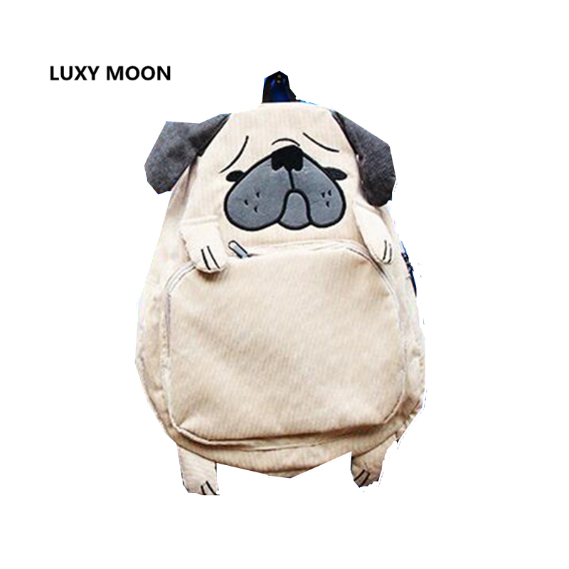 Japanese School Bag Animal Design Corduroy Pug Backpacks for Teenage Girls Cute Dog Preppy Style Laptop Squirrel Backpack L363 corduroy goes to school