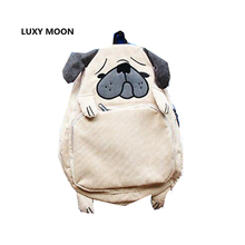Японская школьная сумка животного Дизайн вельвет Мопс Рюкзаки для подростков Обувь для девочек милая собака элегантный дизайн ноутбука белка рюкзак L363