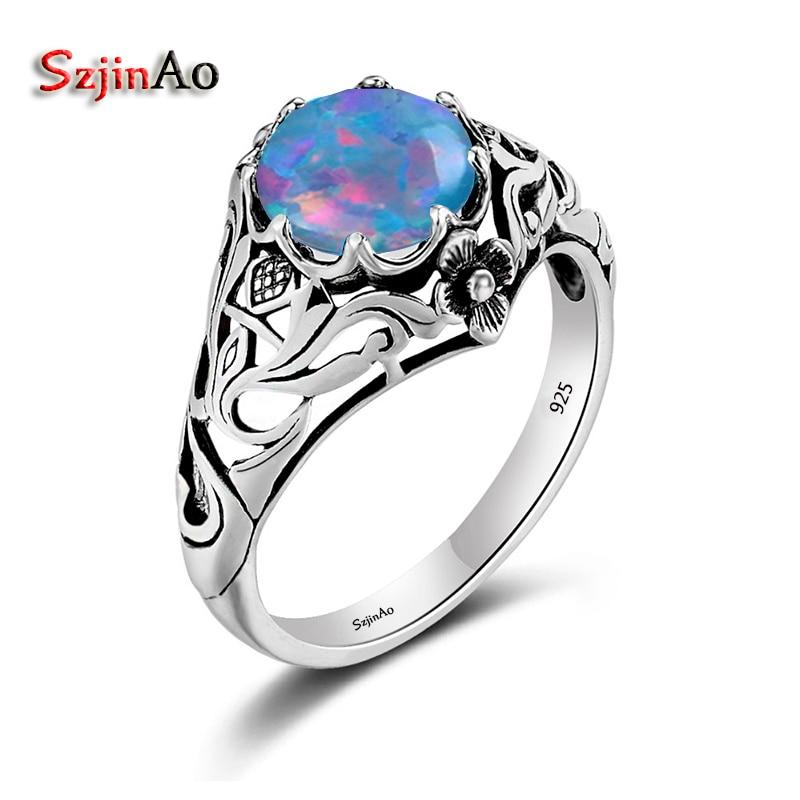 Szjinao Bohemian Female Blue Fire Opal Flower Stark Rings For Women Vintage Wedding Antique 925 Sterling Silver Bulgaria Jewelry