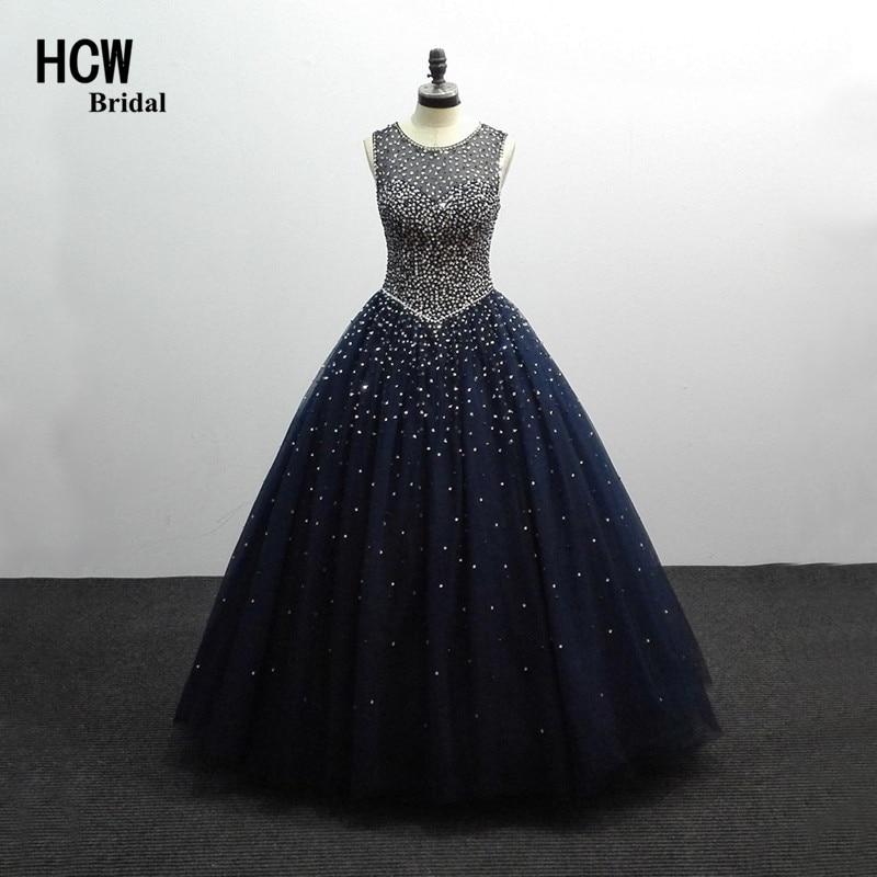 Gaun Prom Biru Sparkly Navy Panjang Buka Kembali Lantai Panjang Kristal Beaded Luxxry Ball Gown Prom Dress 2019 Gaun Pesta Formal Arab