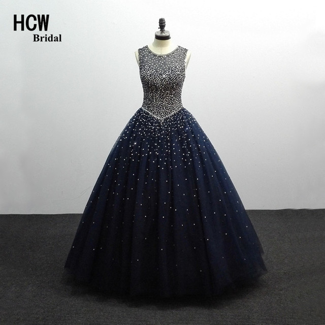 Aliexpress.com : Buy Sparkly Navy Blue Prom Dresses Open Back Floor ...