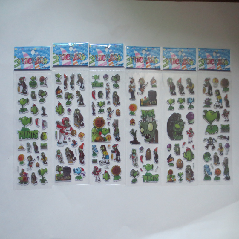 10sheets Zombies and Vegetables Toy Bubble Stickers Hot Game App Toys Christmas Gifts for Kids Toys Wall Sticker