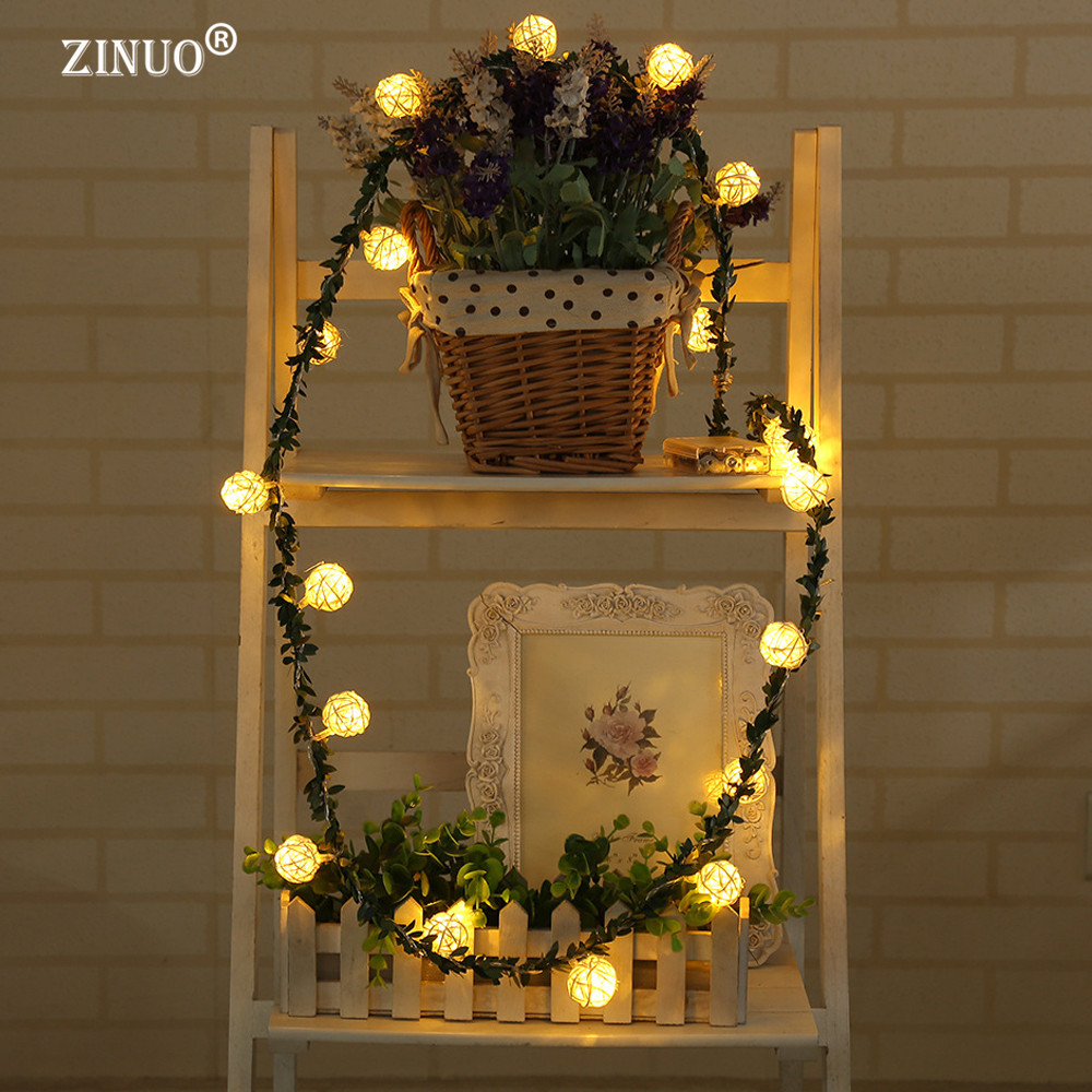 ZINUO 2M 20LEDs Garland Rattan Ball Leaf LED String Holiday Lights - Мерекелік жарықтандыру - фото 5