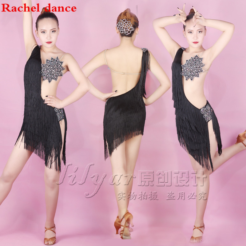 2017 Tassel Latin Dance Dress Women Top Shoulder Style Back Opening Salsa Tango Rumba Flamengo Latin Dance Competition Costumes