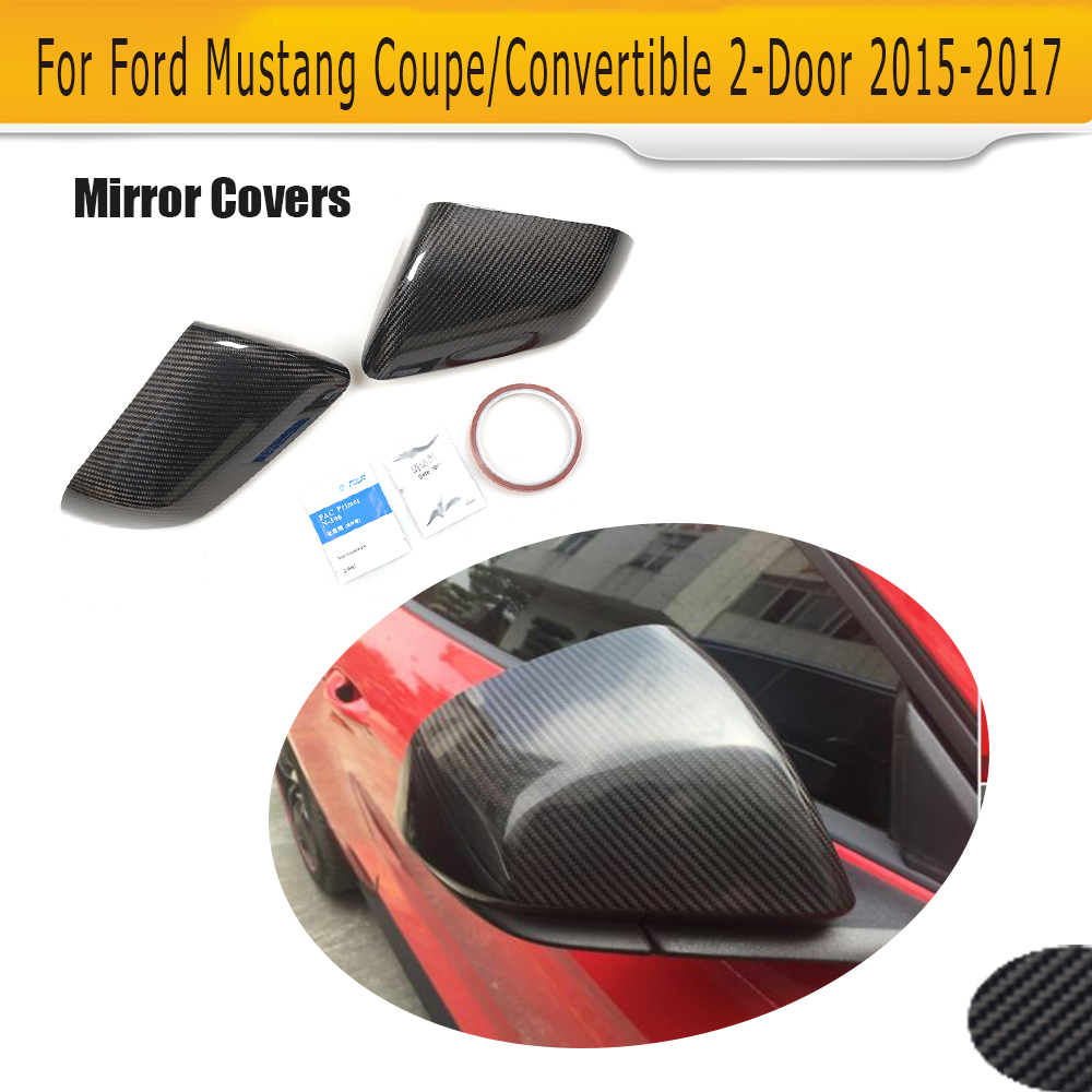 carbon fiber car side mirror fender covers for Ford Mustang 2015 UP Not Turn signal Add on style for cadillac ats full add on style carbon fiber mirror covers 2014 2015