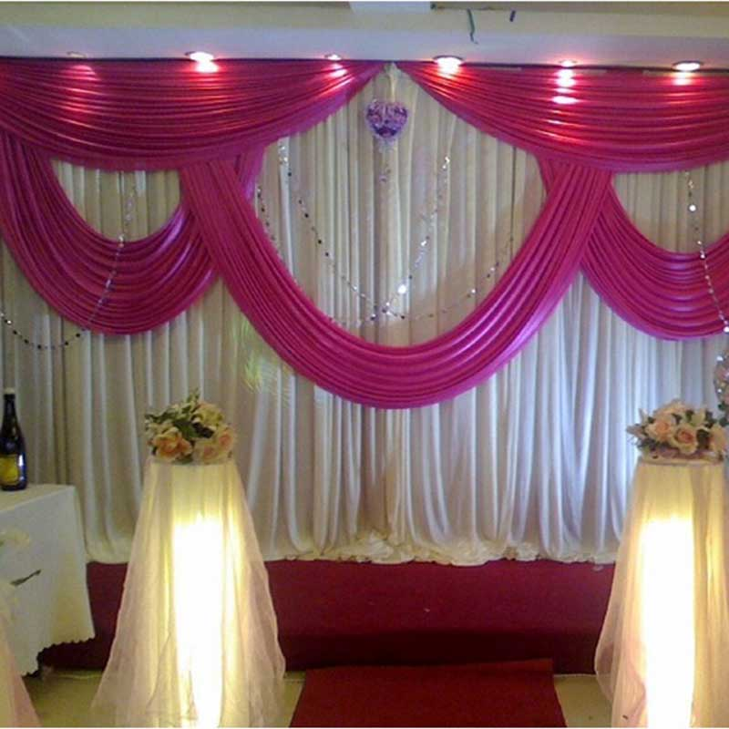 event services stage curtain drapes wedding drape pleated wedding backdrop with swag stage decorationschina - Stage Decorations