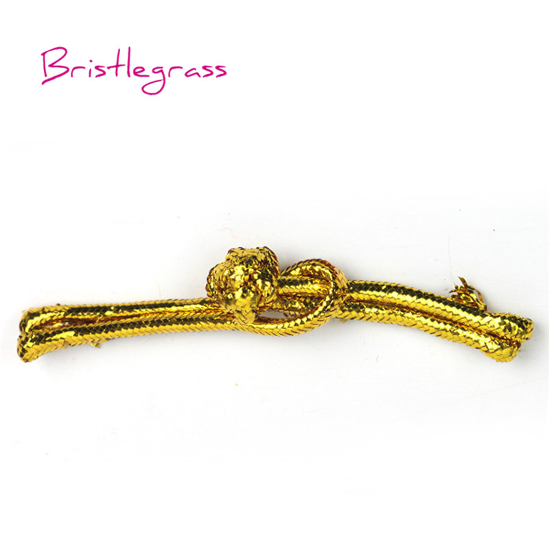 5 Pair Handmade Gold Metallic Ribbon Chinese Frogs Closure Knot Buttons Fastener