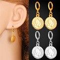 Europeu do vintage Rainha Cabeça Coin Brincos Moda Jóias Banhado A Ouro Brincos de Jóias Para As Mulheres E5157