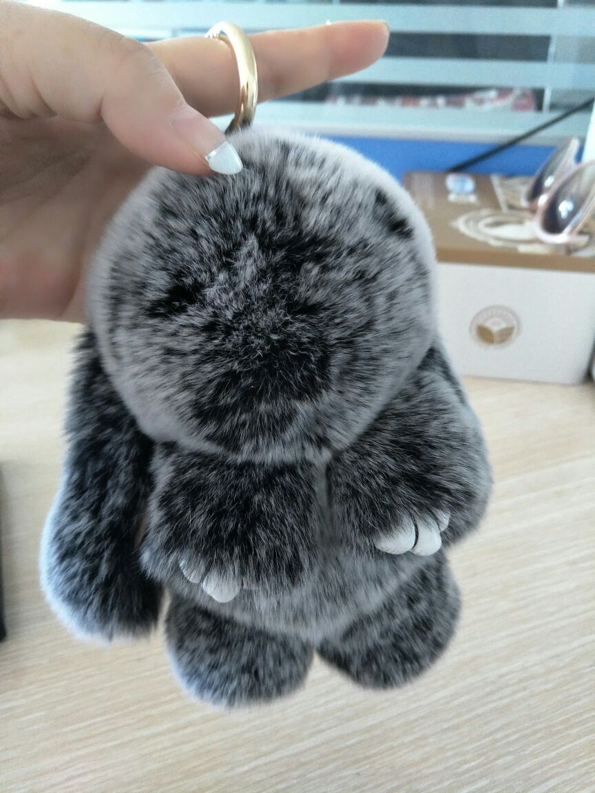 Real Puff Bunny Bag Charm Snow Frost Gray Fluffy Purse Charm Pompoms ... 343360676e07