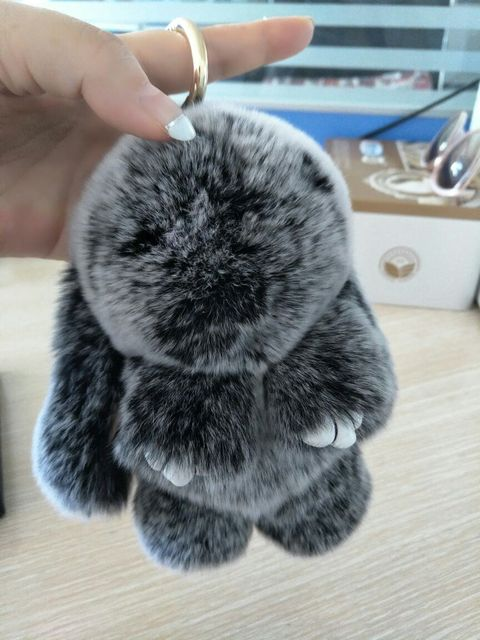 acc6409654a Real Puff Bunny Bag Charm Snow Frost Gray Fluffy Purse Charm Pompoms Rabbit  Bunny Pendants Keychains