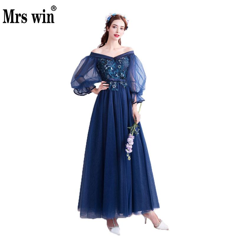 New Fashion Midnight Blue Evening Dress Off Shoulder Puff Sleeve3/4 ...