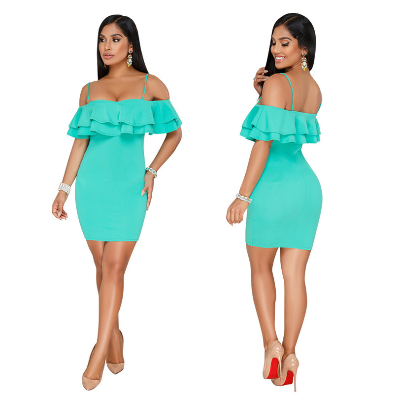 Women Tight Party Dress Off Shoulder Strap Backless Clubwear Dinner Evening Package Hip Night Out Slim Bodycon Tunic Femme Robes thumbnail