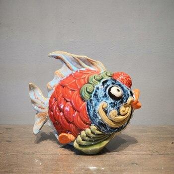 Lucky Strike Rich Fish Ceramic Handicrafts Festive Living Room Desk Store Office Decor Jewelry Wedding Gift M1189