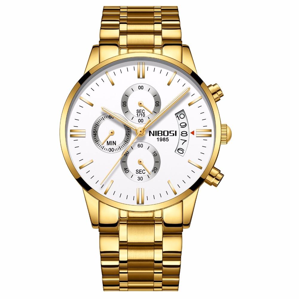 цена на NIBOSI Men Watches Luxury Top Brand Men gold Watch Relogio Masculino Military Army Analog Quartz Wristwatch black white blue