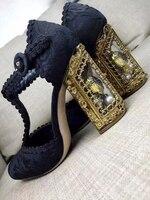 Moraima Snc металлический ажурный каблук свадебные туфли с кристаллами внутри высокий толстый каблук Т образная Пряжка ремень кружева декор нас