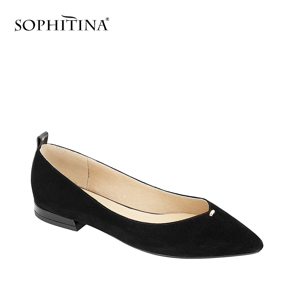 SOPHITINA 2019 Autumn Black Flats Sexy Pointed Toe Shallow Women' s Shoes Handmade Vintage Genuine Leather Office Lady Flats P2