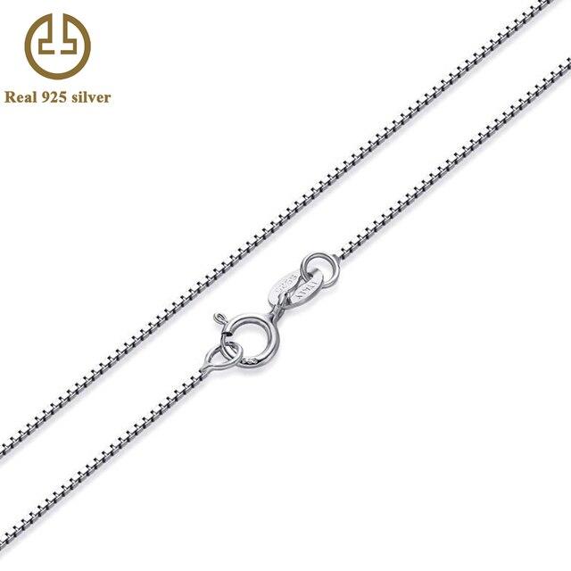 63446ddef7bc 80 cm Real 925-sterling-silver 0.8mm caja collar de cadena de accesorios