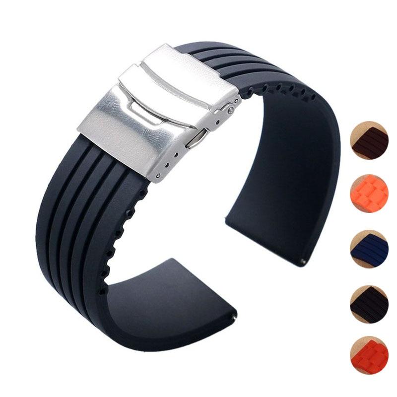 все цены на New Design Black Silicone Rubber Watch Strap Band Deployment Buckle Waterproof 18mm ~ 24mm F17 онлайн