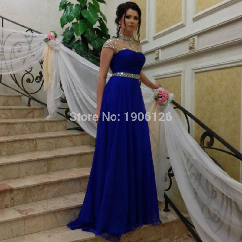 Vestido de festa longo azul 2016 brillante largo vestidos de noche mujeres piedras de cuello alto