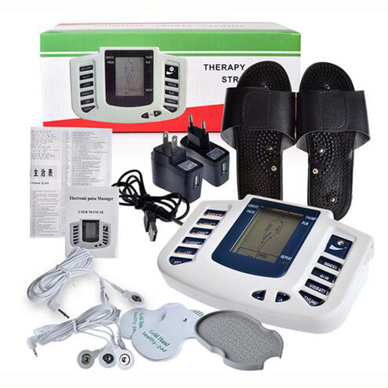 Electrical Muscle Stimulator Body Relax Slimming Massager Massage Pulse Tens Acupuncture Therapy Machine Slipper+8 Electrode Pad