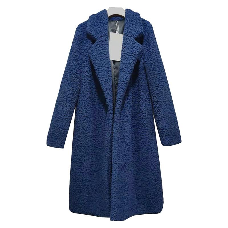Long Coats Fleece Jackets Winter Warm Teddy Coat Cardigan Office Lady Sexy Women Wool Blends Full Tops Overcoats Plus Size 12