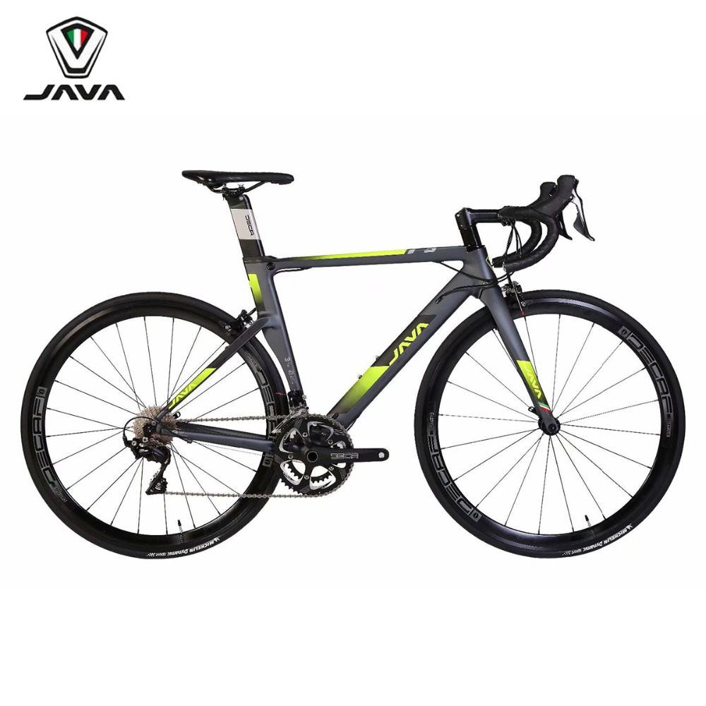 JAVA FUOCO Road Bike 700C Aero 22 Speed with 105 Derailleur Shifter Tek tro Brake Aluminum Frame with Carbon Fork Racing Bicycle