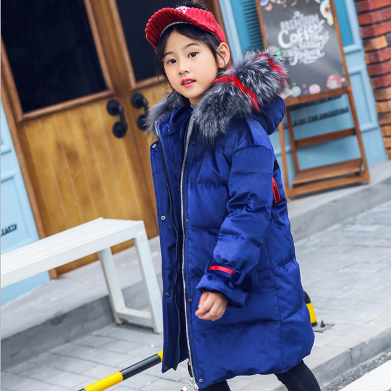 IYEAL Fashion Hooded Large Fur Collar Winter Down Coat Long Jacket Kids Girls Warm Down Parkas Children Thicken Outerwear 4-12T winter jacket women 2017 mid long thicken warm cotton padded down parkas coat faux fur collar hooded jacket for girl