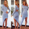 2015 Hot Sexy Ladies Verão Boho Chiffon Longo Maxi Evening Beach Party Vestido de Manga Longa