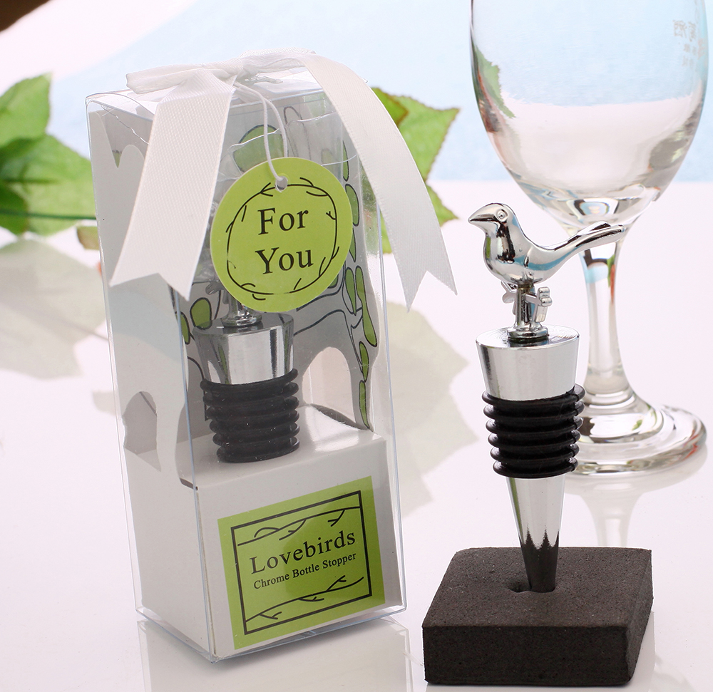 Stainless Steel Love Bird Wine Stopper Bridal Wedding Gift Wine ...